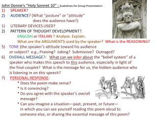 "John Donne's ""Holy Sonnet 10""  :  Guidelines  for Group Presentation:"