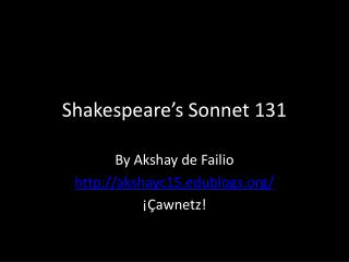 Shakespeare's Sonnet 131