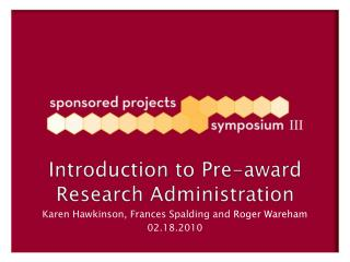 Introduction to Pre-award Research Administration