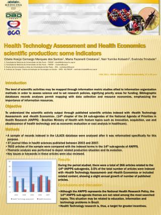 Health Technology Assessment and Health Economics scientific production: some indicators