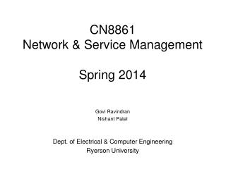 CN8861 Network & Service Management Spring 2014