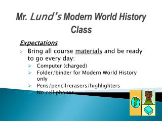 Mr.  Lund's  Modern World History Class