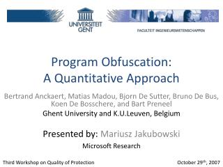 Program Obfuscation: A Quantitative Approach