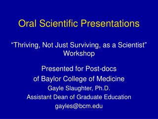 Oral Scientific Presentations