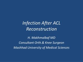 Infection After ACL Reconstruction