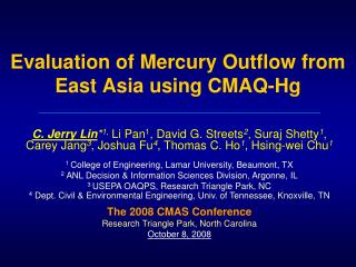 Evaluation of Mercury Outflow from East Asia using CMAQ-Hg