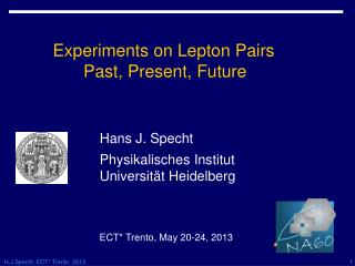 Experiments on Lepton Pairs              Past, Present, Future