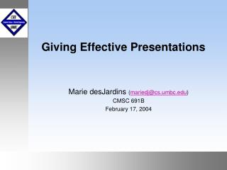Giving Effective Presentations