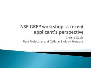 NSF GRFP workshop: a recent applicant's perspective