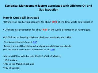 Ecological Management factors associated with Offshore Oil and Gas Extraction
