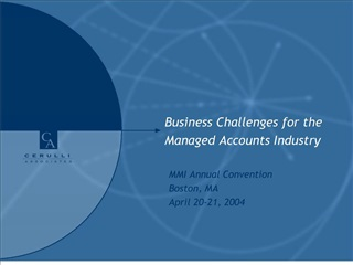 Business Challenges for the Managed Accounts Industry