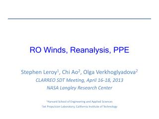 RO Winds, Reanalysis, PPE