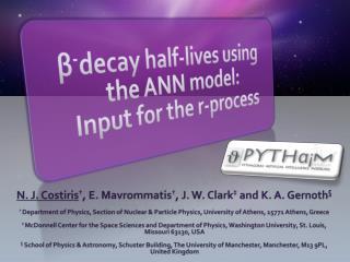 β - decay half-lives using the ANN model:  Input for the  r -process