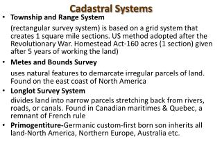 Cadastral Systems