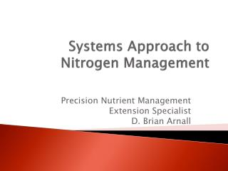 Systems  Approach  to Nitrogen Management