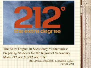 The Extra Degree in Secondary Mathematics: