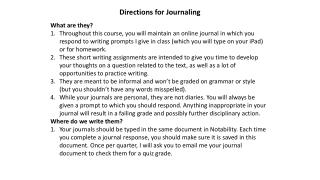 Directions for Journaling
