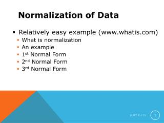 Normalization of Data