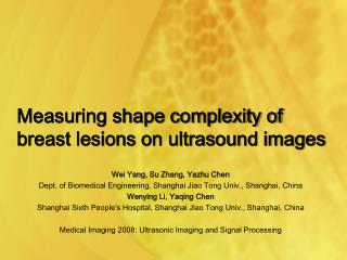 Measuring shape complexity of breast lesions on ultrasound images
