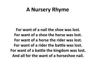 A Nursery Rhyme