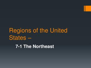 Regions of the United States –