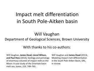 Impact melt differentiation  in South Pole-Aitken basin