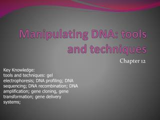 Manipulating DNA: tools and techniques