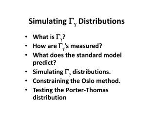 Simulating  G g  Distributions