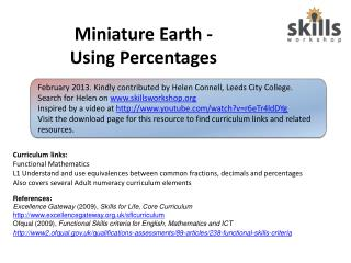 Miniature Earth - Using Percentages