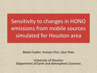 Sensitivity to changes in HONO emissions from mobile sources simulated for Houston area