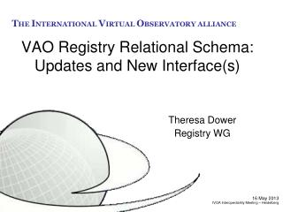 VAO Registry  Relational  Schema: Updates and  New Interface(s)