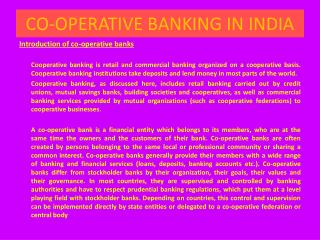 CO-OPERATIVE BANKING IN INDIA