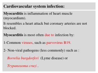 Cardiovascular system infection: