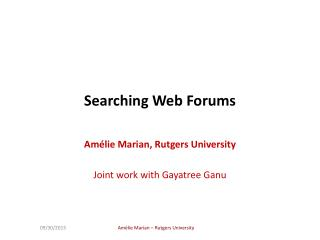 Searching Web Forums