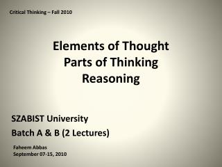Elements of Thought Parts of Thinking Reasoning