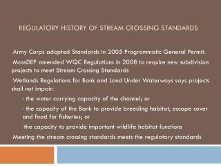 Regulatory History of Stream Crossing Standards