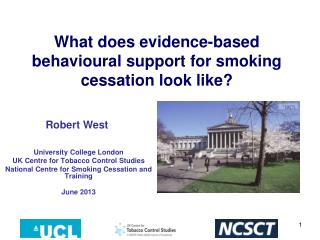 What does evidence-based  behavioural  support for smoking cessation look like?