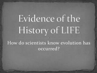 Evidence of the History of LIFE