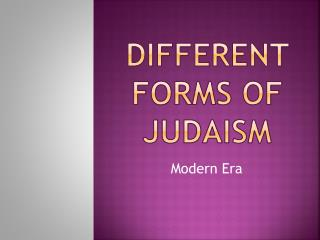 Different Forms of Judaism