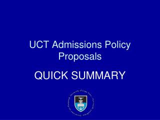 UCT Admissions Policy Proposals