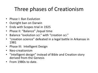 Three phases of Creationism