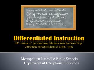 Metropolitan Nashville Public Schools      Department of Exceptional Education