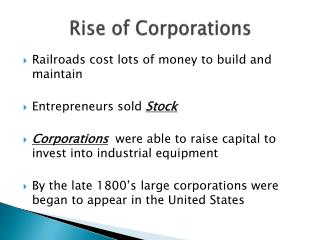 Rise of Corporations