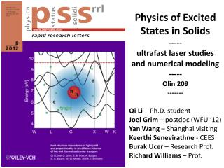 Physics of Excited States in Solids ----- ultrafast laser studies  and numerical modeling -----
