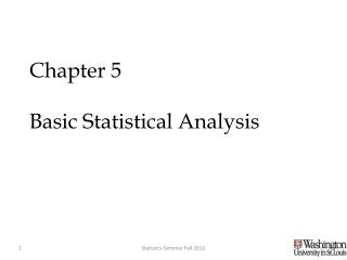 Chapter 5  Basic Statistical Analysis