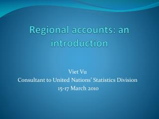 Regional accounts: an introduction