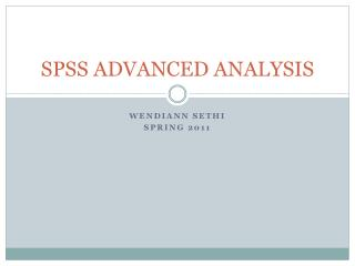 SPSS ADVANCED ANALYSIS
