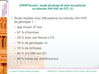 STARTVerso4 : étude de phase III chez les patients co -infectés  VIH-VHC de GT1  (1)