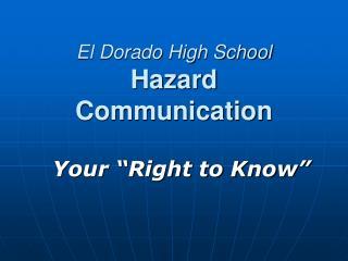 El Dorado High School Hazard Communication