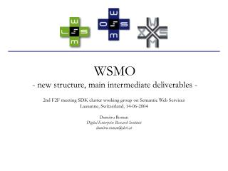 WSMO - new structure, main intermediate deliverables -